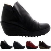 Ladies Fly London Yip Mousse Wedges Casual Winter Pull On Ankle Boot All Sizes
