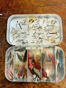 Vintage Richard Wheatley 5 Compartment Tube Fly Box With Foam Lid Flies And Hooks