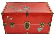 Vintage Doll Trunk With Travel Stickers Red Metal And Wood Restoration Project