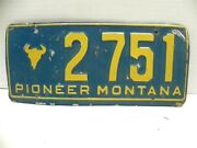Vintage 1950's Montana State License Plate Pioneer Montana 2751 Collectible
