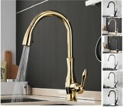 Gold Kitchen Faucets Silver Single Handle Pull Out Water Mixer Taps Single Hole