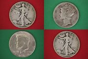 Make Offer 25.00 Face Value 1964 Kennedy Mercury Walking Junk 90 Silver Coins