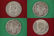 Make Offer 25.00 Face Value 1964 Kennedy Franklin Mercury Junk 90 Silver Coins