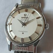 Vintage Omega Constellation Cal.551 Pie Pan Silver Dial Automatic Menand039s Watch