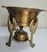 Joseph Heinrichs Lobster Pot Copper With Warmer With 3-d Lobsters No Lid