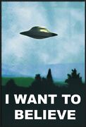 I Want To Believe - Framed Tv Show Poster Ufo / X-files Size 25 X 37