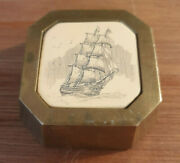 Antique Brass Paperweight With Scrimshaw Inlay 18th Century Sailing Ship Art