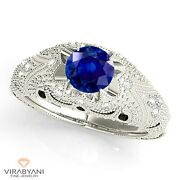 1.20 Ct. Genuine Blue Sapphire Vintage Ring With 0.20 Ct. Diamond 18k White Gold