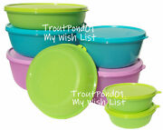 Tupperware Complete Set Of 8 Deluxe Modular Nesting Bowls Purple Green Blue New