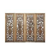 Chinese Set Distressed 4 Seasons Flower Wooden Wall Plaque Panels Ws1206