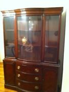 Antique Mahogany China Cabinet Curio Duncan Phyfe Style Drexel Court Bow Front.