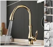 Kitchen Sink Faucets Single Handle Hole Pull Out Swivel Degree Water Mixer Taps