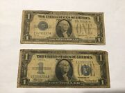 Vintage Lot 2 1928-a And 1934 One Dollar 1 Silver Certificate Bill Funnybacks