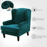 Wing Back Chair Cover Velvet Spandex Stretch Slipcovers Office Chairs Stylish