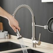 Kitchen Sink Faucets Brush Brass Single Lever Pull Out Spring Spout Mixers Taps