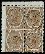 1872 Sg122a 6d Chestnut Ki-lj First Day Cds Block Of Four Whitstable 22 May 1872
