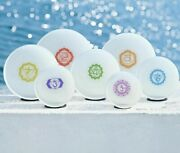 7 Pcs 6-12 Chakra Tuned Set Of Paternoster Frosted Quartz Crystal Singing Bowl