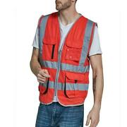 Newest Reflective For Safety Vest High Visibility Zipper Front Stripped Designed