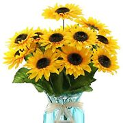 Derblue 15.74and39and39 Artificial Sunflowers Bouquet With 14 Headstwo Different Of