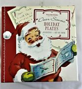 Vintage Williams And Sonoma Dear Santa Letters Holiday Plates Set Of 4 W/ Box