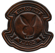 4.5 Marine Corps Vmaq-2 Playboys Can Do Easy Squad Antique Leather Jacket Patch