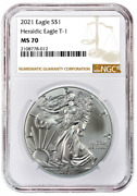 2021 1oz Silver Eagle Ngc Ms70 - Brown Label - In Stock