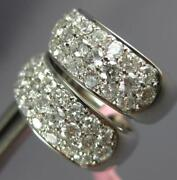 Estate Wide 1.50ct Diamond 14kt White Gold 3 Row Classic Huggie Hanging Earrings