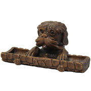 19th Century Oversized Carved Black Forest Dog Pen Tray And Ink Well