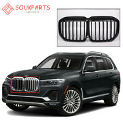 Single Slat Black Front Bumper Grill Grille Fits For Bmw X7 G07 2019-2021