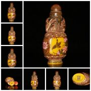 Bejing Snuff Bottles Hand Painted Colored Glaze Bottle Box Flower Bird Gifts Art