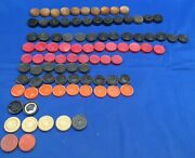 Lot Of 91 Vintage Wooden Wood Checkers Plastic Bakelite Game Board Pieces