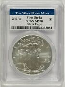 2013-w Burnished American Silver Eagle 1 Pcgs Ms70 First Strike 28333081