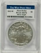 2013-w Burnished American Silver Eagle 1 Pcgs Ms70 First Strike 28333084