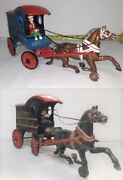 2 - Vintage Cast Iron Horse Drawn Bakery Wagons With Drivers - Free Delivery
