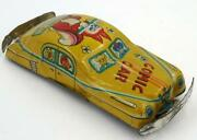 Vintage Early 1950's Japanese Tin Comic Car-flute Playing Squirrel-yellow