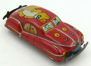 Tiny Vintage Japanese Tin Penny Toy Car-tanuki Or Raccoon On Roof-red