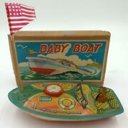 Vintage 1950's Japanese Tin Speedboat Rattle-baby Queen Boat In Box