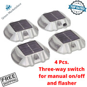 Solar Led Path Lights Pathway Markers Cordless For Driveway Walkway Garden 4 Pcs