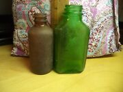 2 Small Old Bottles Brown And Green - No Lids Letters On Bottom Of Them