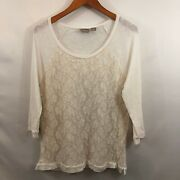Chicos Womens White Round Neck Floral Cotton Long Sleeve Lace T Shirt Top Size 2