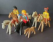 Vintage Lot Of 8 Plymobil Horses With 3 Riders Plastic Toy Figurines 1974-1993