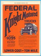 1926 Federal Motor Truck Co Detroit Mi Knight Engine Antique Stake Bed Ad