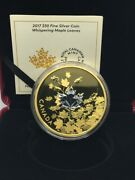 2017 Canada 50 Whispering Maple Leaves 3oz Silver Proof Gold-plated Coin
