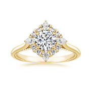 Brilliant 0.98 Ct Real Diamond Engagement Rings Solid 14k Yellow Gold Size 7 8 9