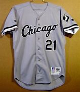 1992 Chicago White Sox George Bell 21 Game Worn Road Gray Mlb Size 44 Jersey