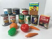 Vintage Lot Of Kidspretend Play Food Set Grocery Cans Veggies Kitchen Toys