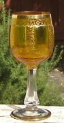 Bohemian Glass Liandscarontovanandeacute Amber Goblet Panel Floral Gilt Hand Decorated Chalice
