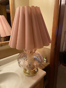 80andrsquos Vintage Dusty Rose Blown Glass Table Lamp