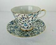Lefton, China Cup And Saucer ,hand Painted Blue Flowers Scalloped,vintage, Rare.
