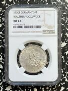 1930-f Germany 3 Mark Vogelweide Ngc Ms63 Lotg728 Silver Choice Unc